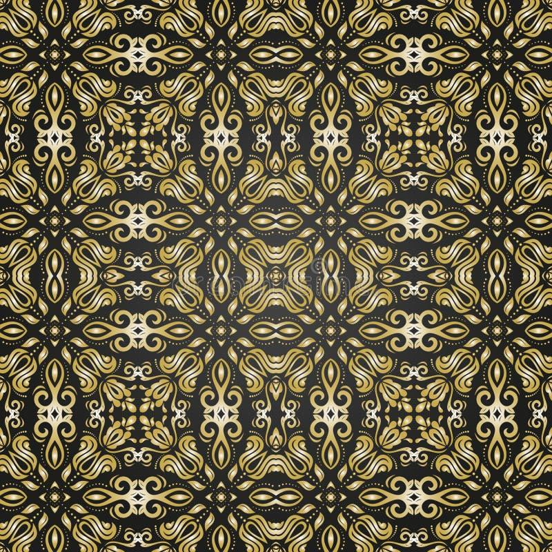 Het naadloze patroon van het damast Oriënteer Achtergrond stock illustratie