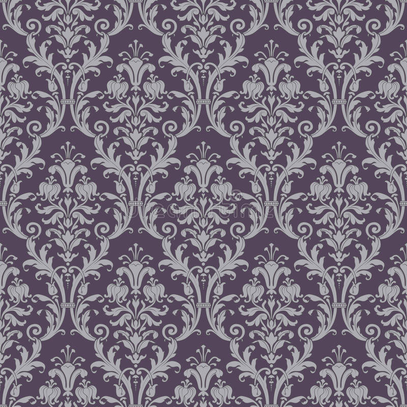 Het naadloze patroon van het damast in purper en grijs royalty-vrije illustratie