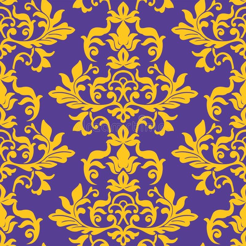 Het naadloze patroon van het damastbehang royalty-vrije illustratie