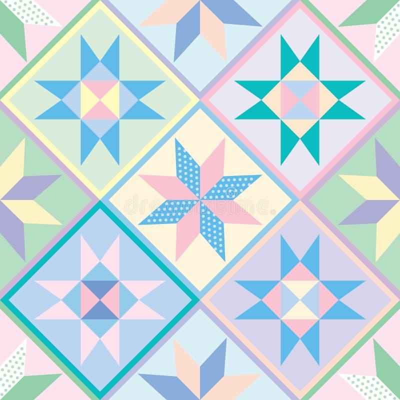 Het Naadloze Patroon van het Dekbed van het lapwerk vector illustratie