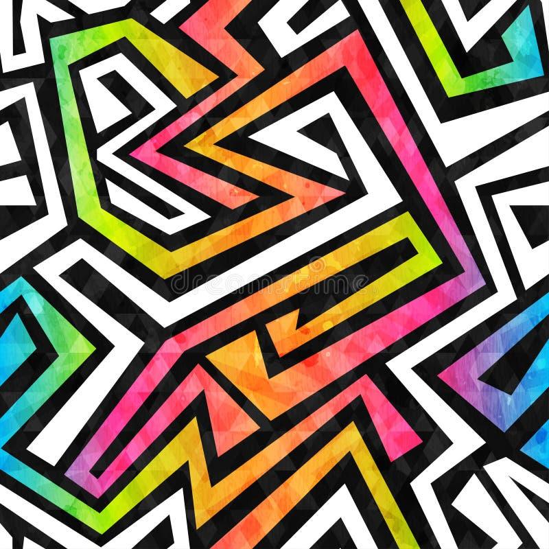 Het naadloze patroon van het graffitilabyrint met grungeeffect vector illustratie
