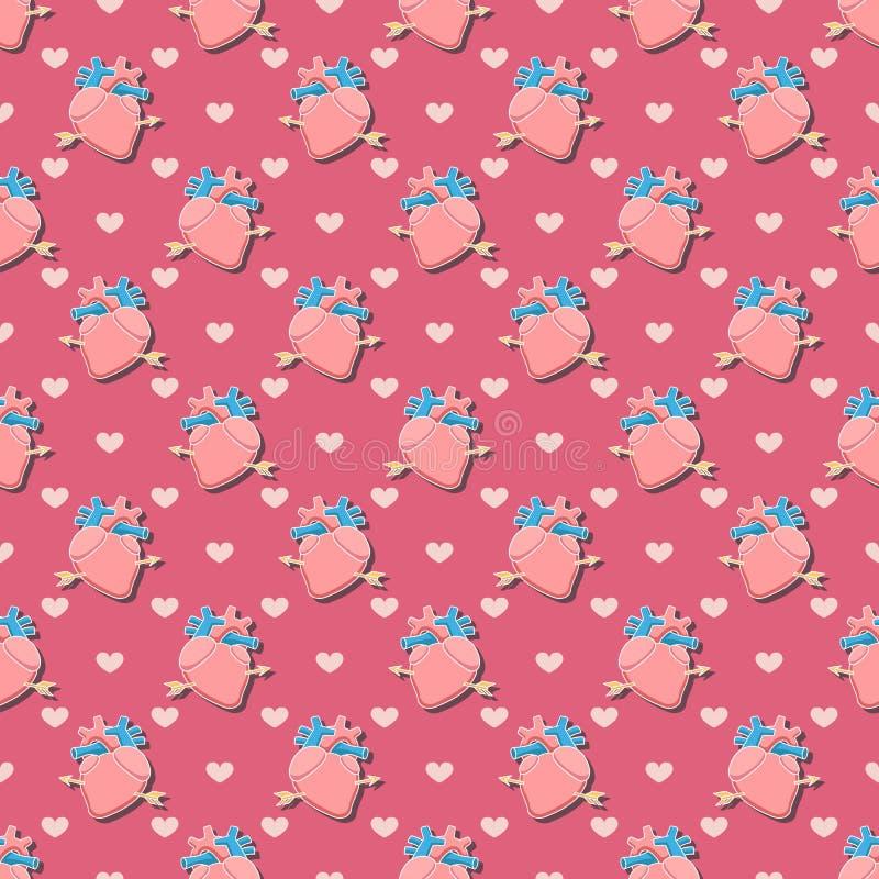 Het naadloze patroon van het hart royalty-vrije illustratie