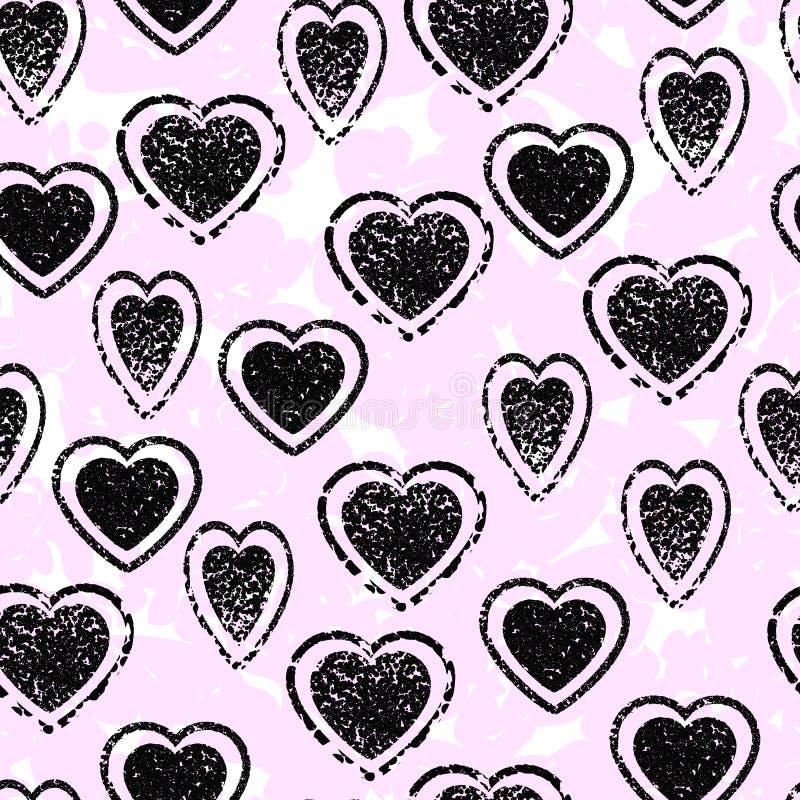 Het naadloze patroon van het hart Rooskleurige onduidelijke beelden stock illustratie