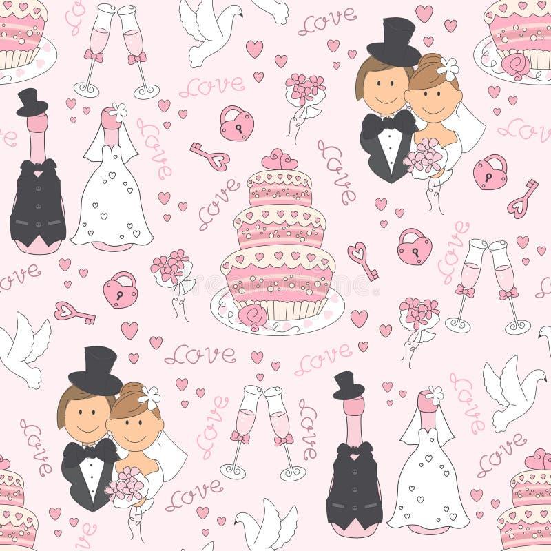 Het naadloze patroon van het huwelijk. stock illustratie