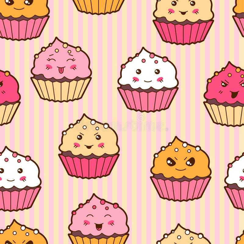 Het naadloze patroon van het kawaiibeeldverhaal met leuke cupcakes royalty-vrije illustratie