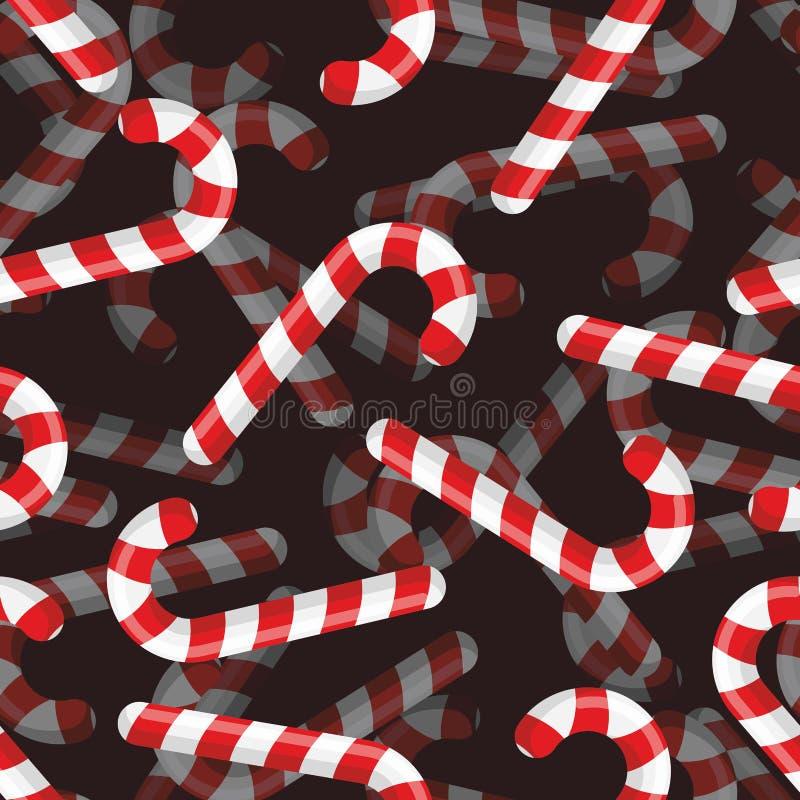 Het naadloze patroon van het Kerstmissuikergoed 3D Gestreept suikergoed als achtergrond stock illustratie