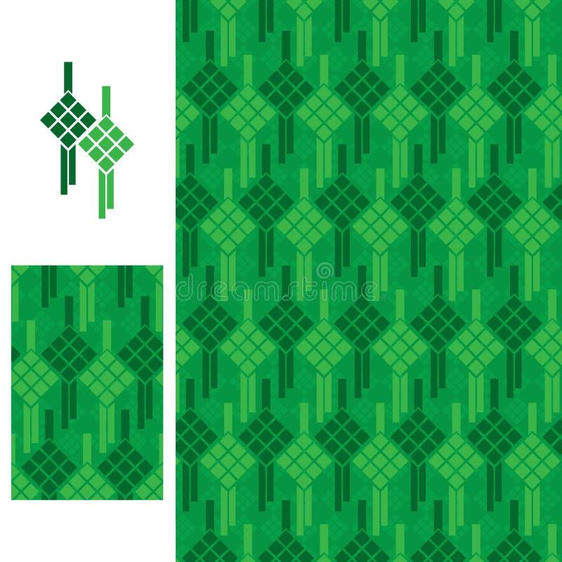 Het naadloze patroon van het Ketupatpictogram stock illustratie