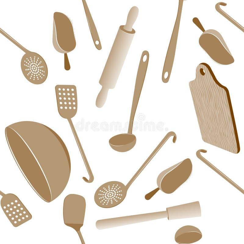Het naadloze patroon van het keukengerei vector illustratie