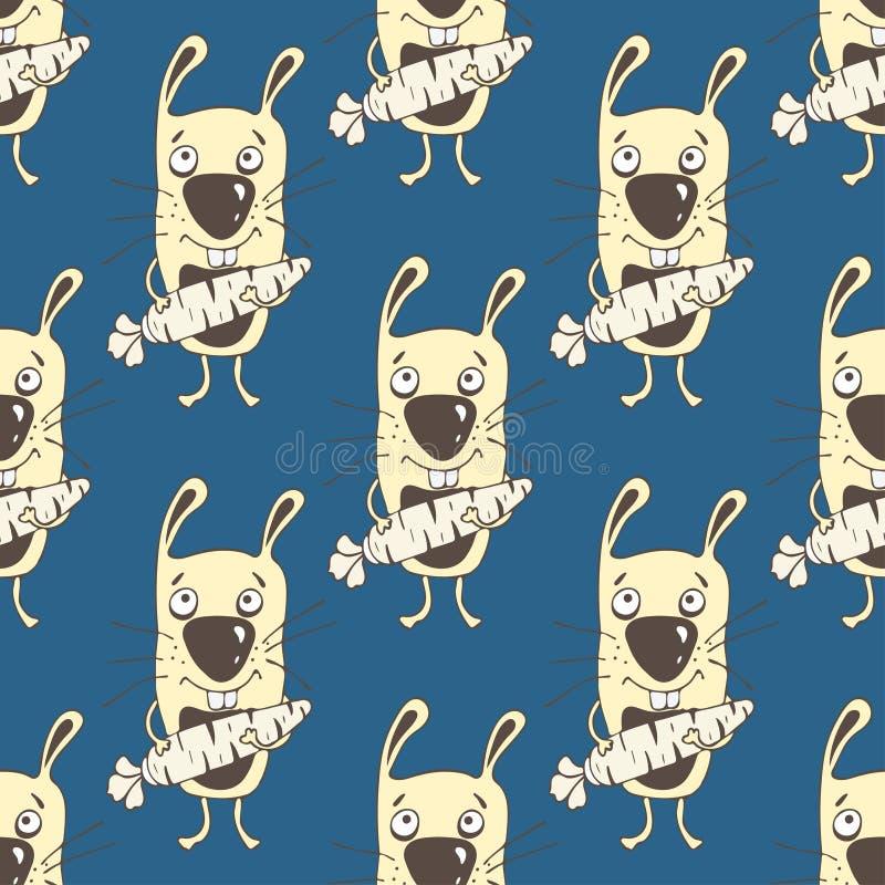 Het naadloze patroon van het konijntjesbeeldverhaal, handtekening, vectorachtergrond Grappig geschilderd geel konijn met een wort vector illustratie