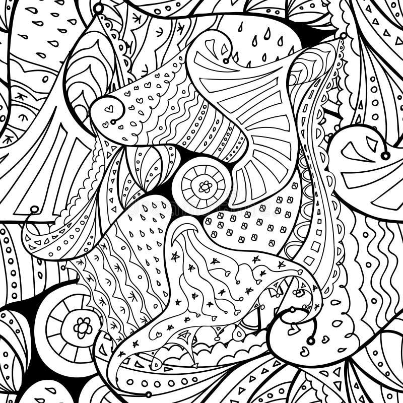 Het naadloze patroon van het krabbeloverzicht royalty-vrije illustratie