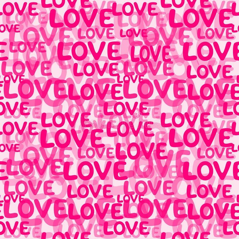 Het naadloze patroon van het liefdewoord vector illustratie