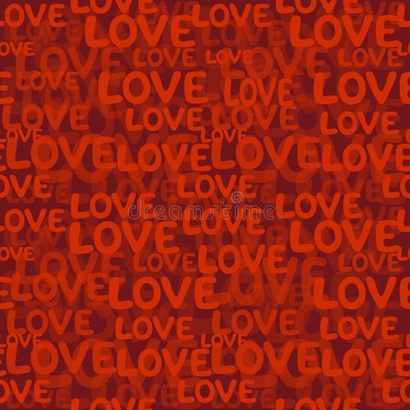 Het naadloze patroon van het liefdewoord royalty-vrije illustratie