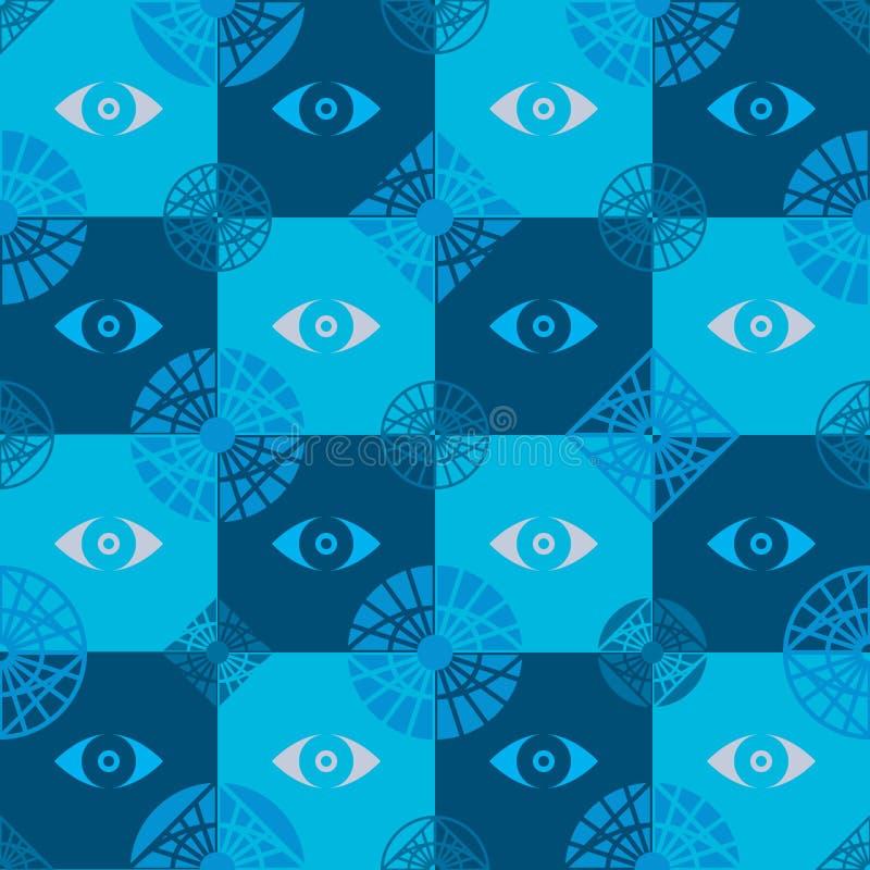 Het naadloze patroon van het oogpictogram stock illustratie