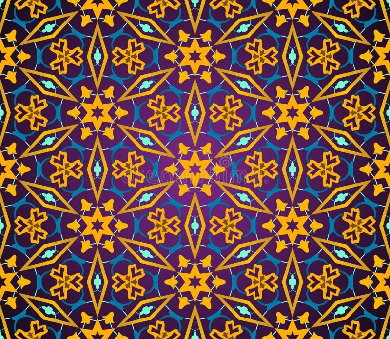 Het naadloze patroon van het oosten Uitstekend oosters ornament van mandalas stock illustratie