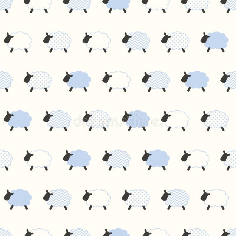 Het naadloze patroon van het schapenbeeldverhaal stock illustratie