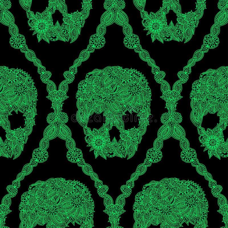 Het naadloze patroon van het schedelsdamast vector illustratie