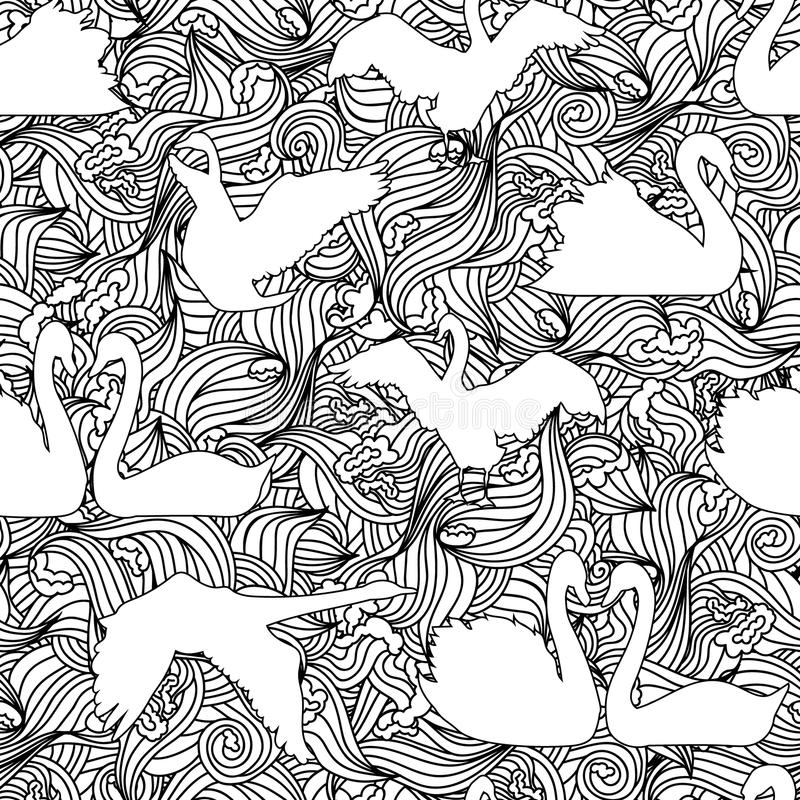Het naadloze patroon van het zwaansilhouet vector illustratie