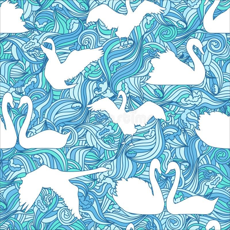 Het naadloze patroon van het zwaansilhouet stock illustratie