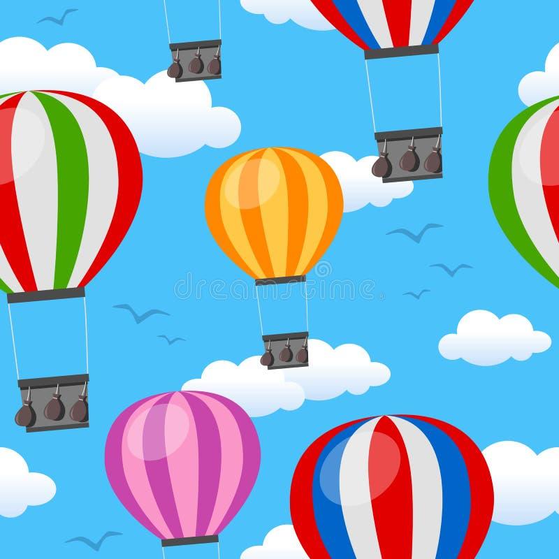 Het Naadloze Patroon van hete Luchtballons stock illustratie