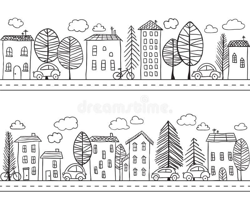 Het naadloze patroon van huizenkrabbels vector illustratie