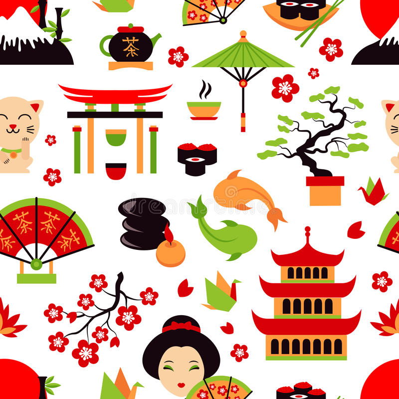 Het naadloze patroon van Japan stock illustratie