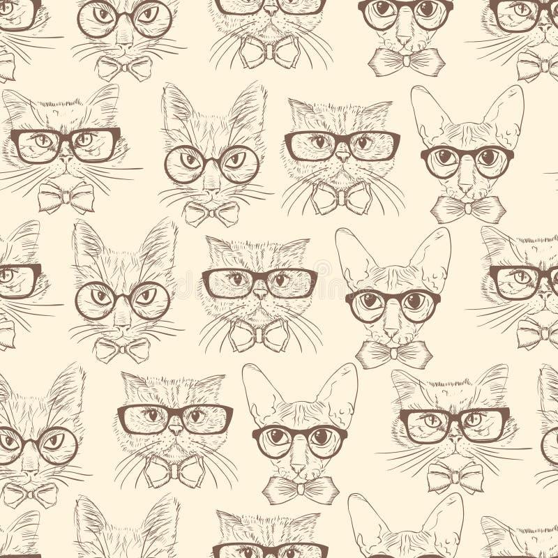 Het naadloze patroon van kattenhipsters royalty-vrije illustratie