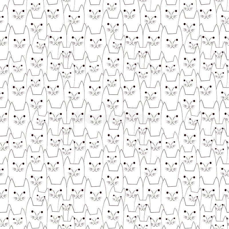 Het naadloze patroon van kattenkrabbels royalty-vrije illustratie