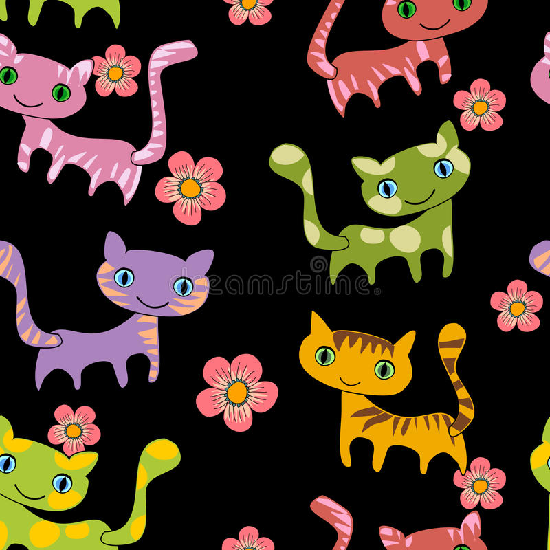 Het naadloze patroon van kattenkrabbels vector illustratie
