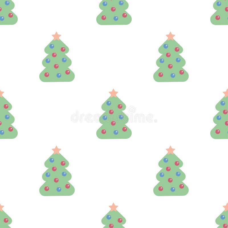 Het naadloze patroon van kerstbomen Kan als nieuwe jaarachtergrond voor verpakkend document, kaarten, uitnodigingen worden gebrui royalty-vrije illustratie