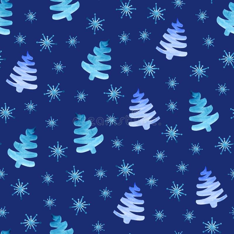 Het naadloze patroon van kerstbomensneeuwvlokken vector illustratie