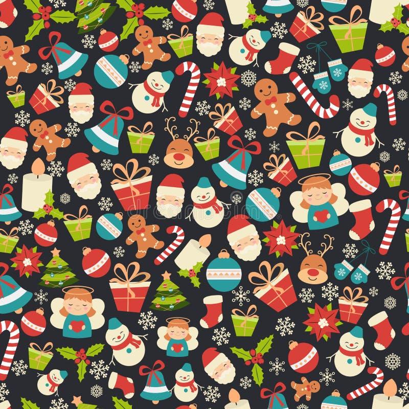 Het naadloze patroon van Kerstmis stock illustratie