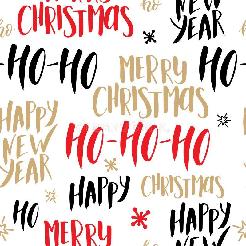 Het naadloze patroon van Kerstmis Achtergrond met hand het getrokken van letters voorzien vectorontwerpillustratie vector illustratie
