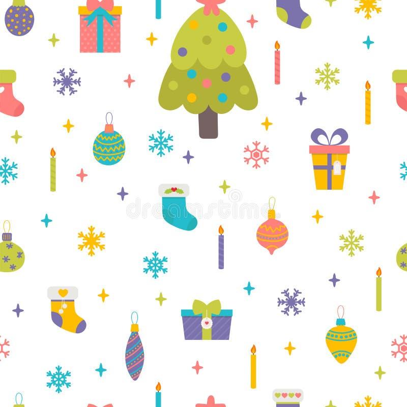 Het naadloze patroon van Kerstmis en van het Nieuwjaar De vakantie van de winter Hand getrokken kinderachtige achtergrond stock illustratie