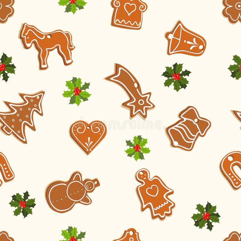 Het naadloze patroon van Kerstmis met peperkoek vector illustratie