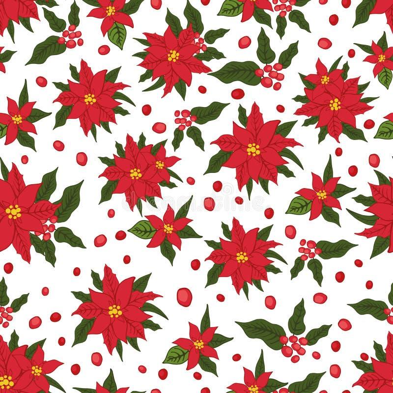 Het naadloze patroon van Kerstmis Rode poinsettiabloemen stock illustratie