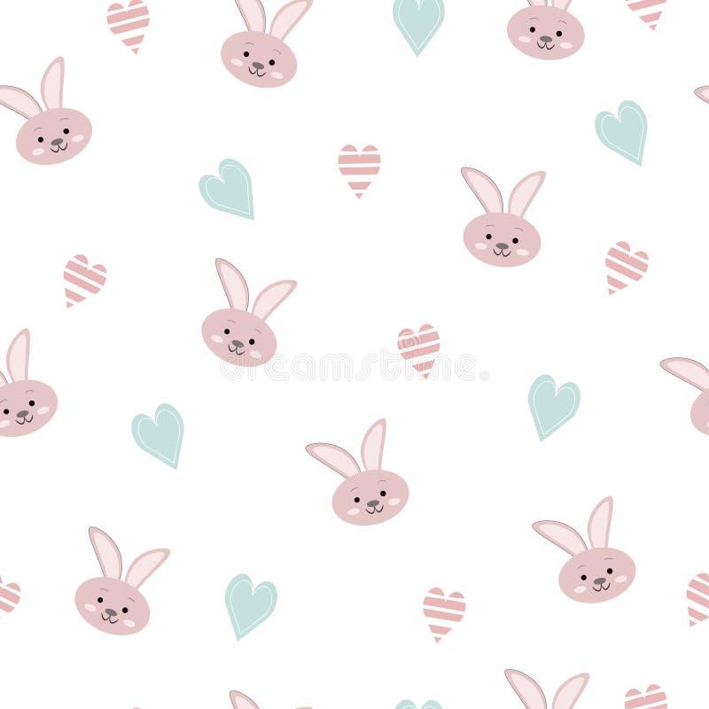 Het naadloze patroon van kinderen met dierlijke konijn en harten stock illustratie