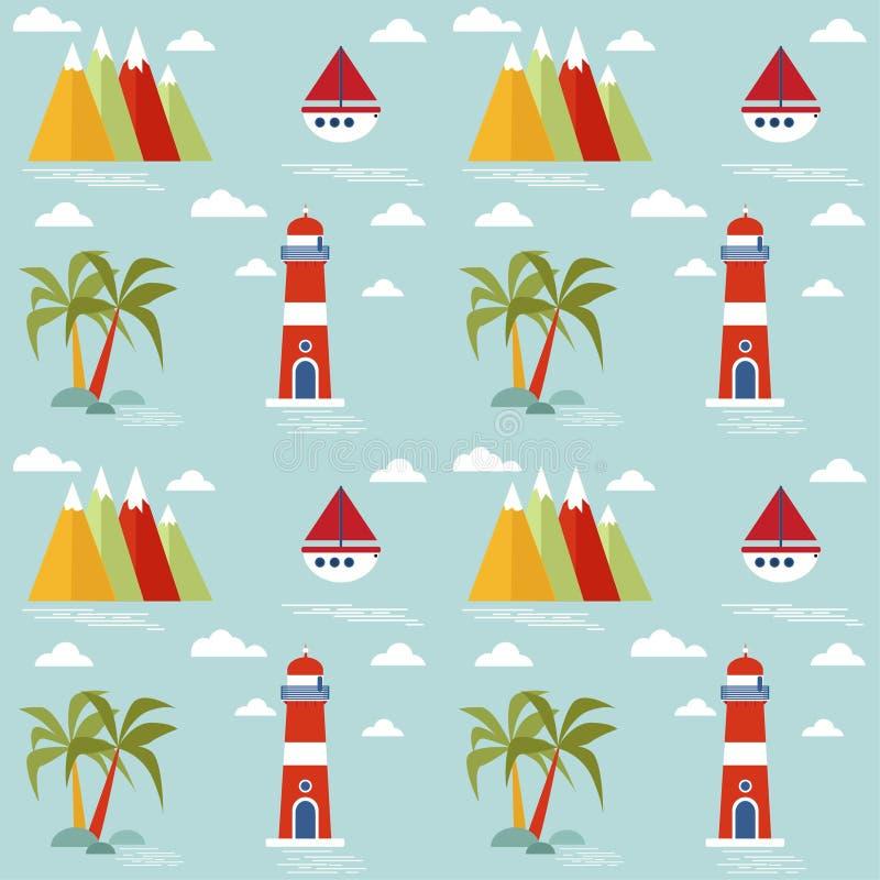 Het naadloze patroon van kinderen met marien thema Vector ontwerp royalty-vrije illustratie