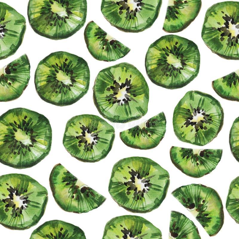 Het naadloze patroon van het kiwifruit De illustratie van de waterverf op een witte achtergrond royalty-vrije illustratie