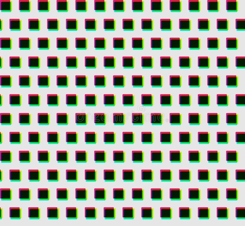 Het naadloze patroon van kleur verplaatste donkere vierkanten stock illustratie