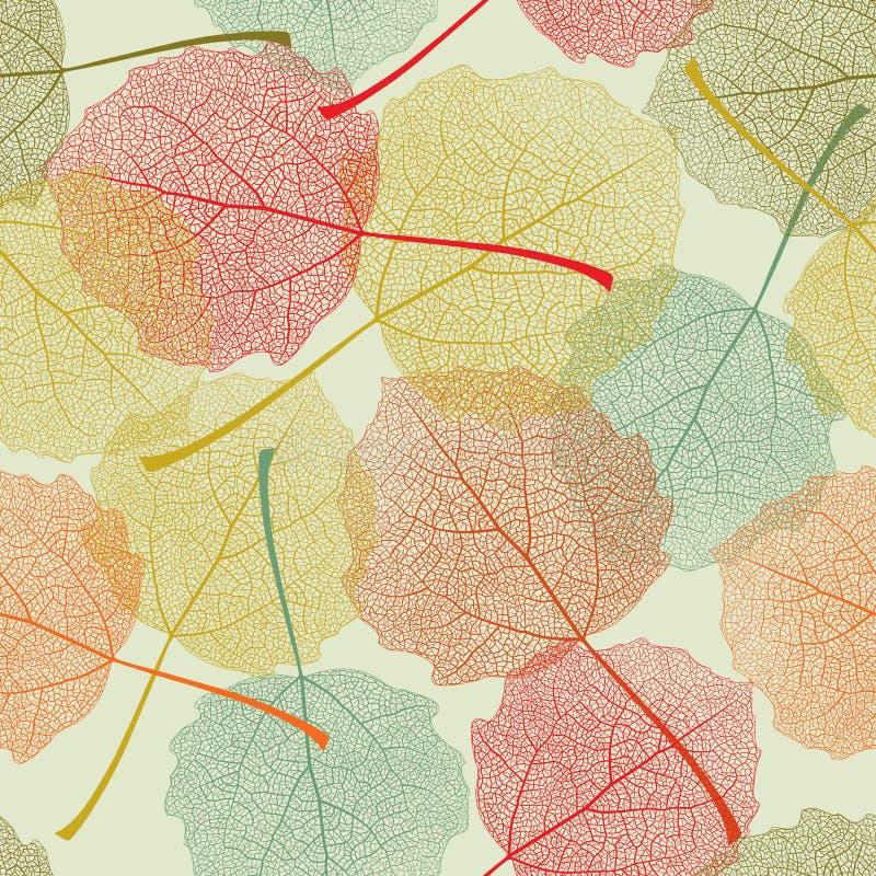 Het naadloze patroon van kleurenbladeren stock illustratie