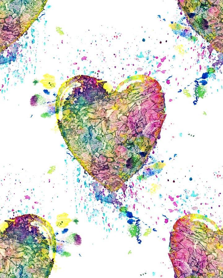 Het naadloze patroon van kleurrijk waterverfhart met ploetert stock illustratie