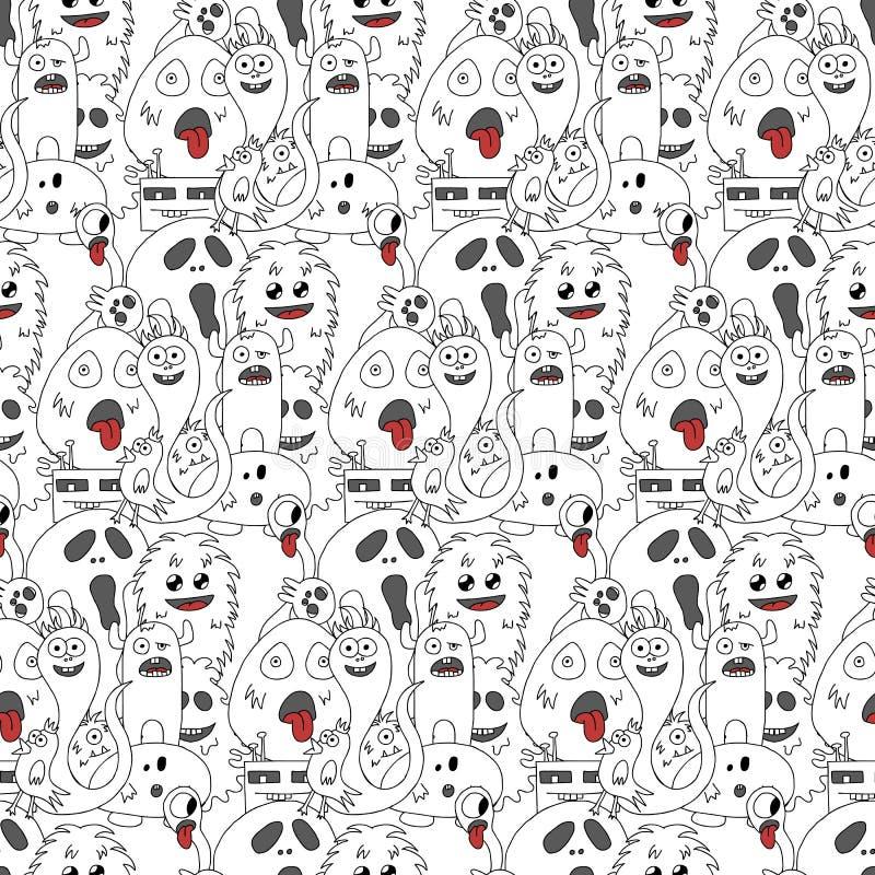 Het naadloze patroon van krabbelmonsters vector illustratie