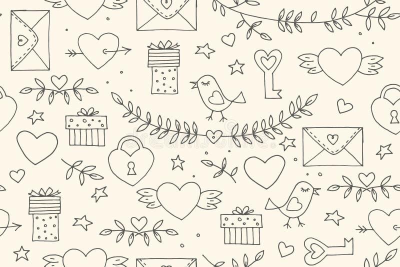 Het naadloze patroon van krabbelsvalentine ` s Beeldverhaal romantische voorwerpen: hart, vleugels, tak met bladerenvogel, gift,  royalty-vrije illustratie
