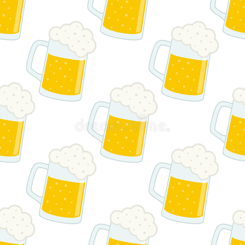 Het Naadloze Patroon van Lager Beer Glass of van de Mok royalty-vrije illustratie