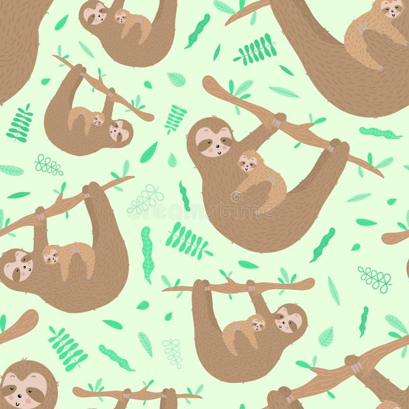 Het naadloze patroon van leuke luiaard koestert een baby Hand-drawn illustratie voor jonge geitjes, de tropische zomer, textiel,  royalty-vrije stock afbeelding