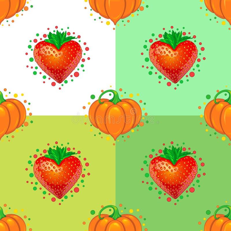 Het naadloze patroon van liefjes Aardbei en Pompoen stock afbeeldingen