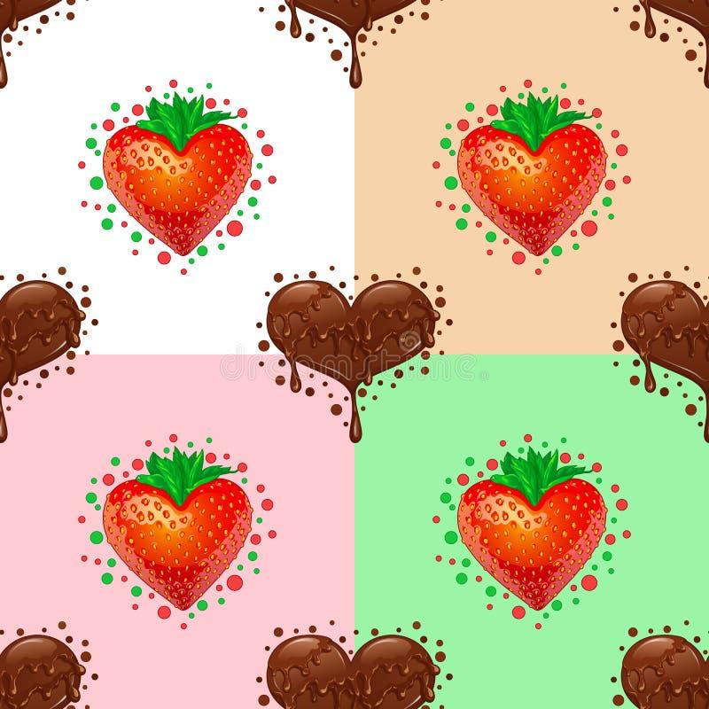 Het naadloze patroon van liefjes Chocolade en aardbei stock fotografie