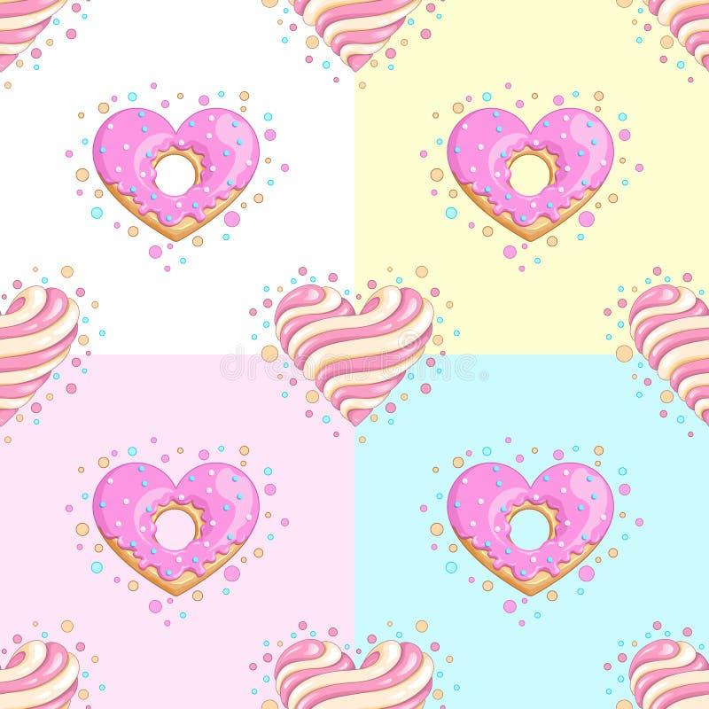 Het naadloze patroon van liefjes Doughnut en Lolly stock afbeeldingen