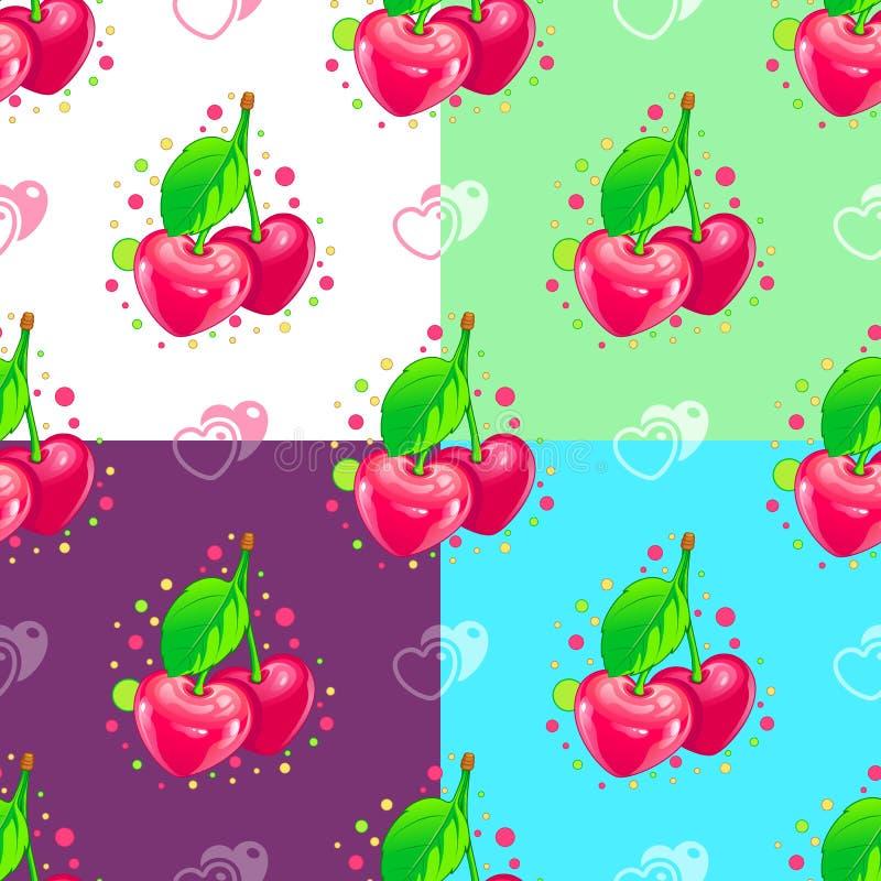 Het naadloze patroon van liefjes Kersenpaar stock afbeelding
