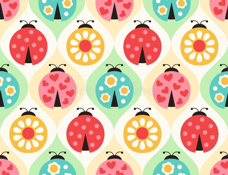 Het naadloze patroon van lieveheersbeestjeinsecten stock illustratie